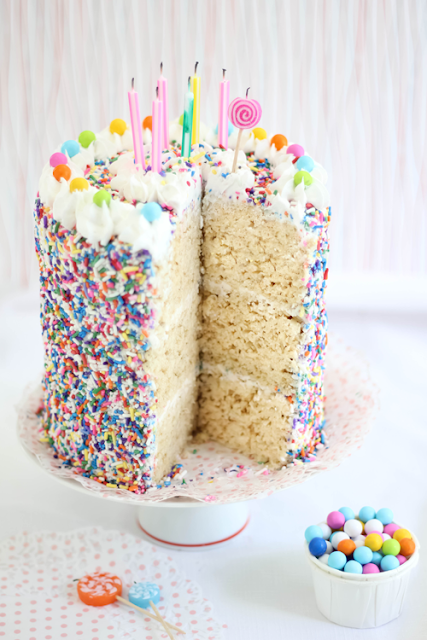 Rice Krispie Treat Sprinkle Cake Sprinkle Bakes Is Four