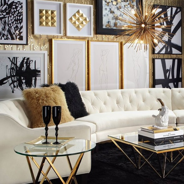 Lush fab glam blogazine luxury living glamorous in gold for Glam modern living room