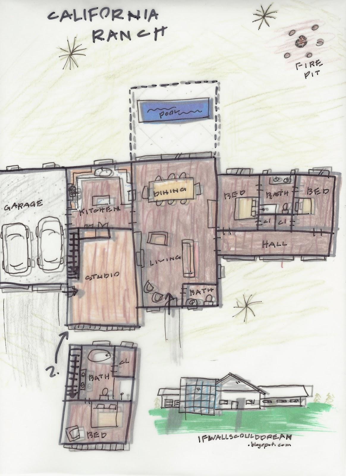 If Walls Could Dream...: California Ranch Floor Plan Sketch