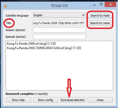 VLSub Dialog box