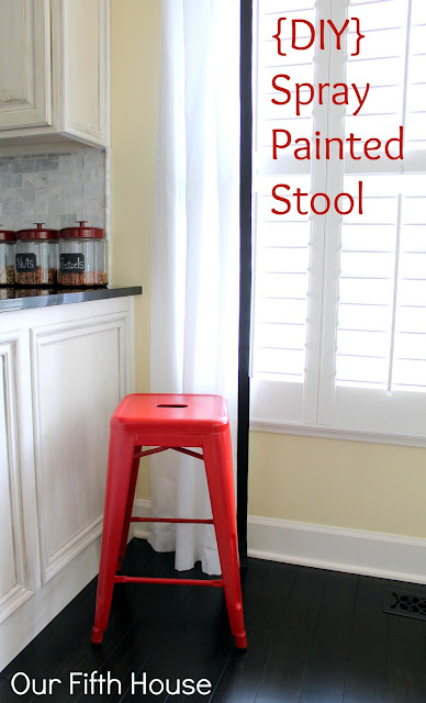 red spray painted stool