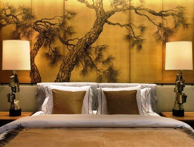 Japanese interior wall painting ideas for Asian mural wallpaper