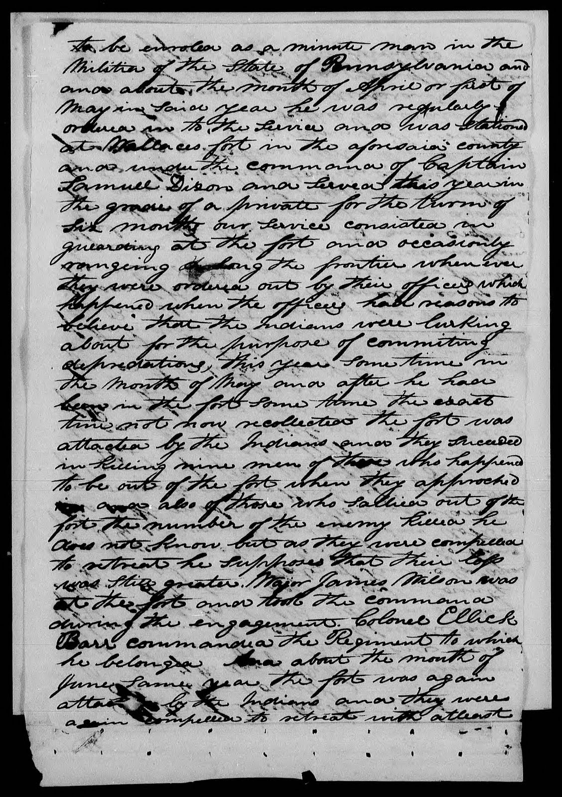 to be enrolled as a minute man in the militia of the state of pennsylvania and on or about the month of aril or first of may in said year he was