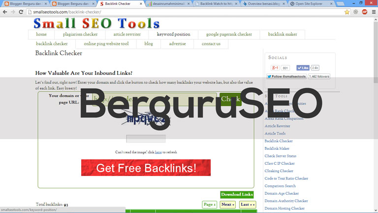 Cara Cek Backlink Web Blog dengan SmalSEOTools