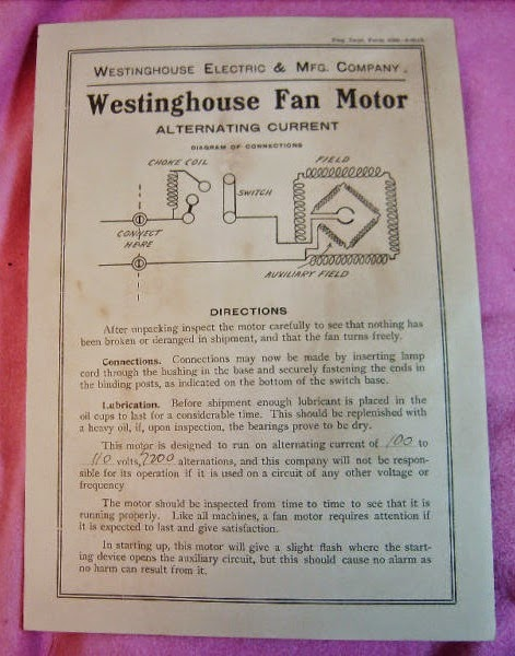 1905%2BWestyinghouse%2Btank%2Binst%2Bsheet early electric fans the westinghouse \
