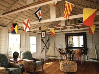 Seaside style decorating with nautical flags for Fishing decor for man cave