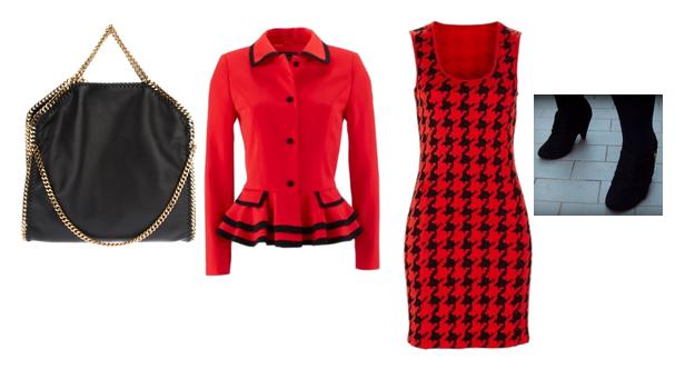 outfit plus size rosso e nero Gloockler con tronchetti e dupe falabella