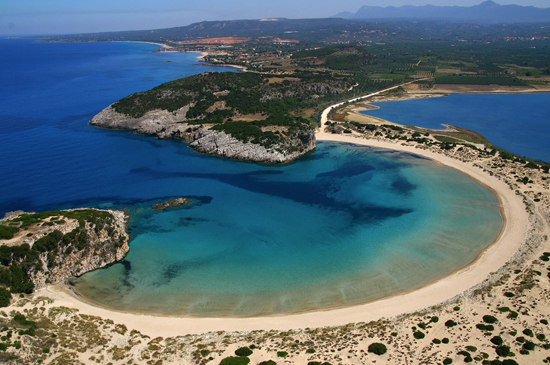 Voidokilia beach in Messinia, Peloponnese by @costanavarino