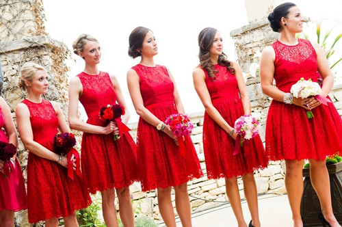 Red lace bridesmaids dresses