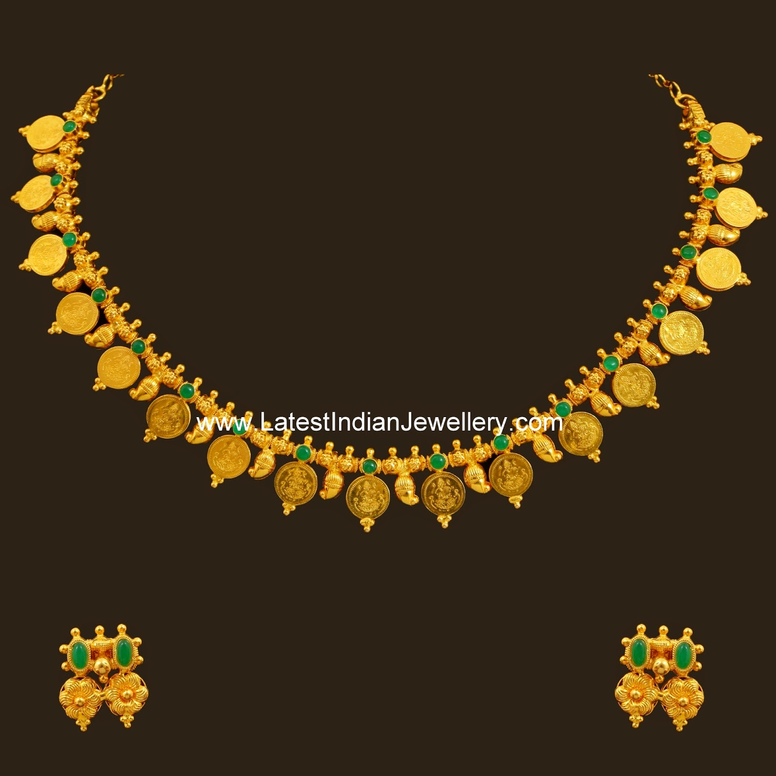 Latest Indian Jewellery Designs 2015: Light Weight Reversible Kasu Necklace