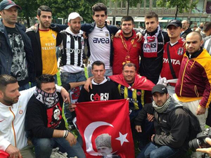 Rival football fans in Turkey