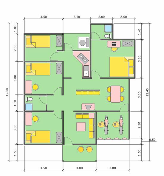 Desain Rumah Minimalis 1 Lantai 4 Kamar Tidur