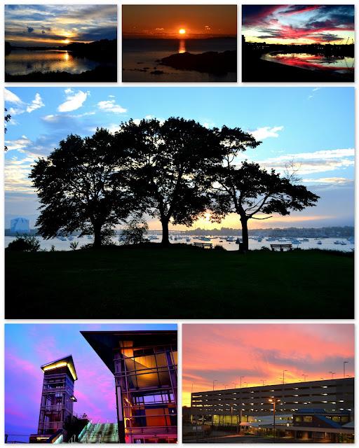 Sunrise, Sunset, Salem, Beverly, Revere, Massachusetts, trees, water, station, silhouette