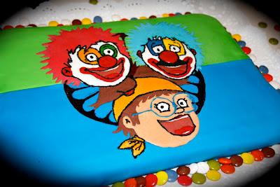 Tarta decorada dels pallassos Pitx, Potx i Maricuetes, homòlegs catalans dels bascs Pitx, Potx eta Marimototx