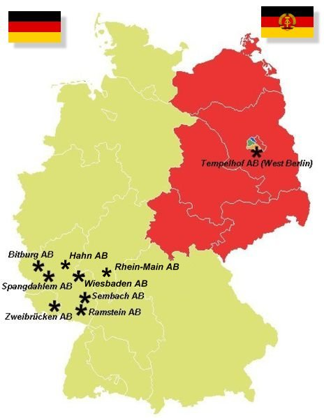 since the defeat of germany on 7 may 1945 the united states military has maintained numerous air bases across western germany initially beginning as postwar