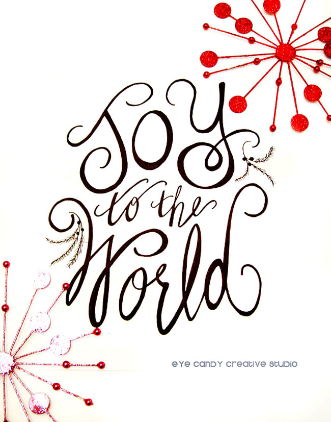 joy to the world, hand lettered christmas art print, christmas art