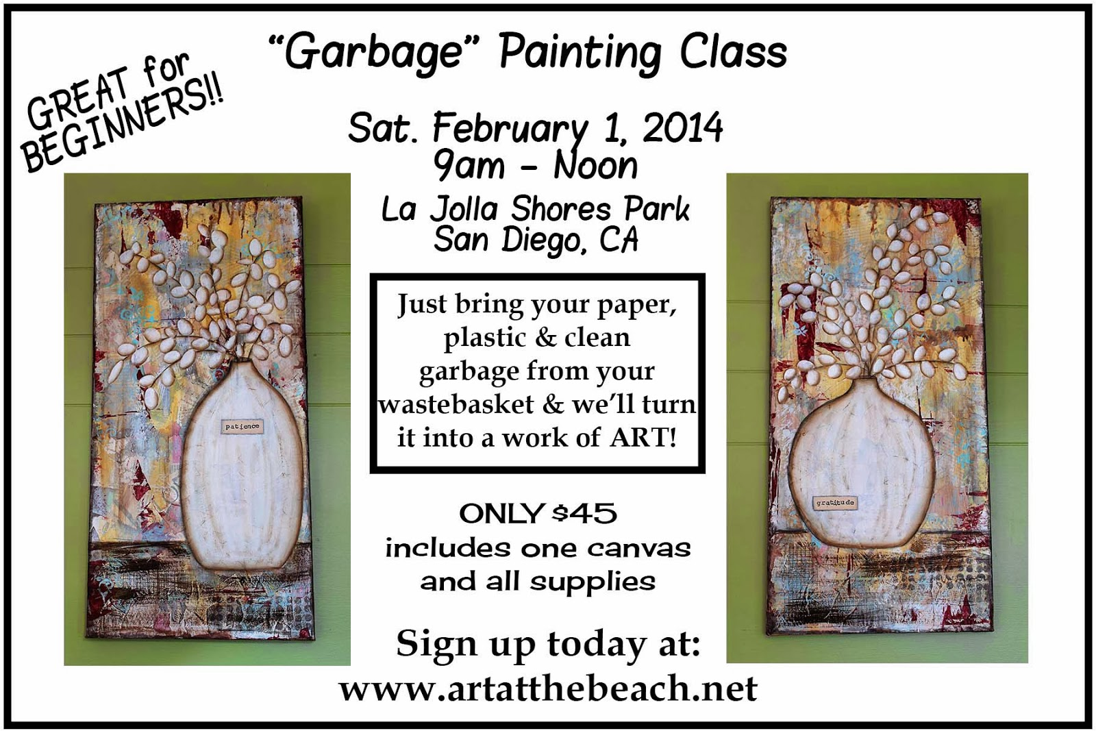 Garbage Painting Class, Beginner's Mixed Media Arylics, Taught by Sue Allemand, www.artatthebeach.net