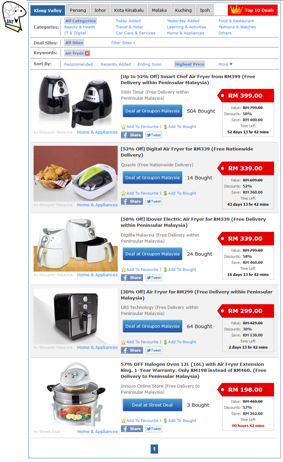 Air Fryers sold online.