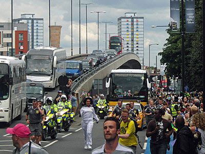 Olympic torch relay at the Bow Flyover
