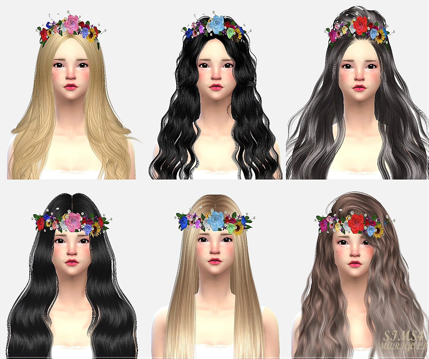 The sims 4 hair accessories - Flower Crown For Males Females By Sims 4 Marigold