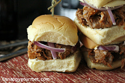 Snappy Gourmet: Cranberry Chipotle BBQ Pulled Pork Sliders