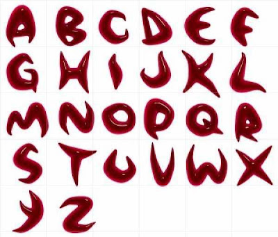 style graffiti alphabet Letters red blood