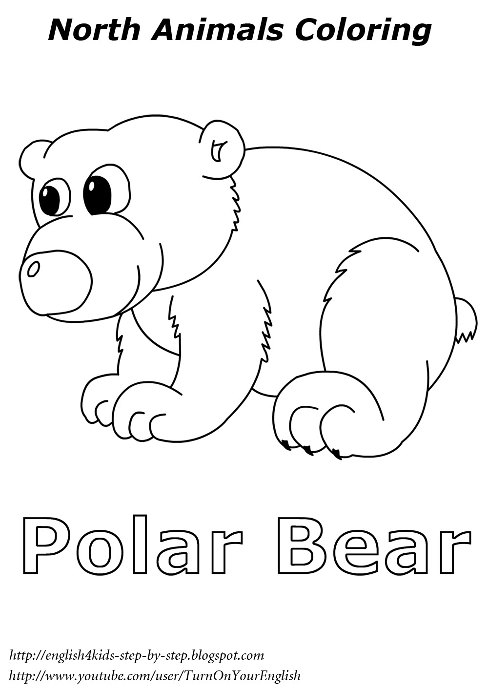 Arctic animals song for children for Polar bear coloring pages