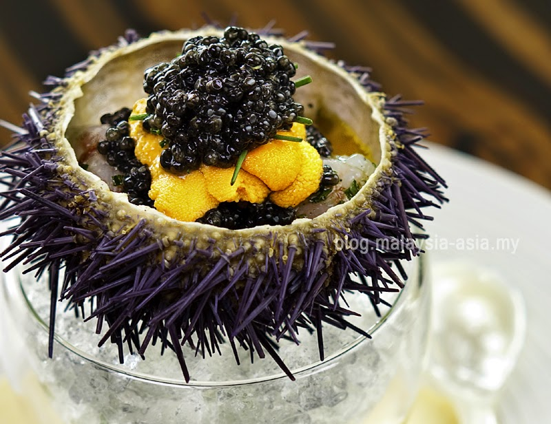 Marinated Botan Shrimp with Sea Urchin and Caviar