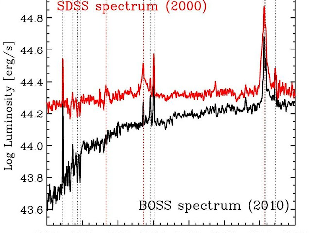 "These plots show two SDSS spectra of the object; the different luminosities as a function of wavelength between the two epochs are clearly visible. In particular, the red dashed vertical lines show the hydrogen Balmer lines which dramatically change their shape: in the red spectrum they are much broader, which provides a ""fingerprint"" signature of the accretion onto a central black hole. Credit: SDSS/MPE"