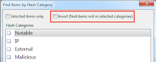 Check to invert - find items not in selected categories