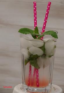 Sirup - Rhabarbersirup gemischt mit Mineralwasser