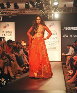 Chitrangda Singh the Showstopper walks the Ramp in Designer Saree Ghahgra Choli at LFW 2014