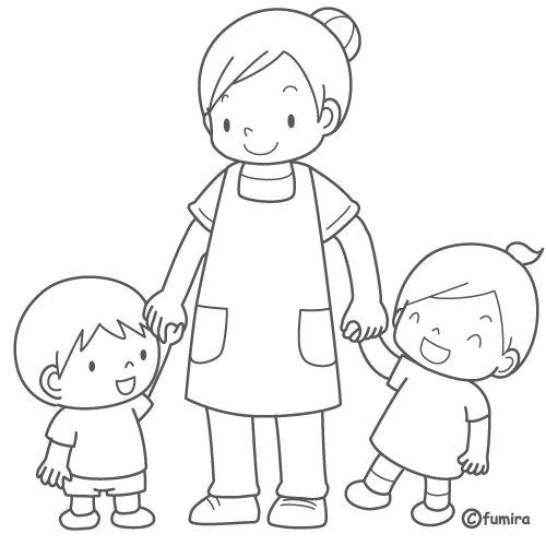 Niños con su maestra para colorear - Imagui