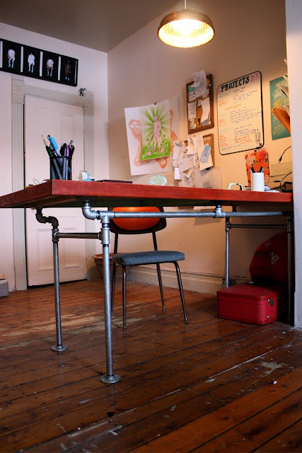 the arting starvist diy pipe desk with salvaged door