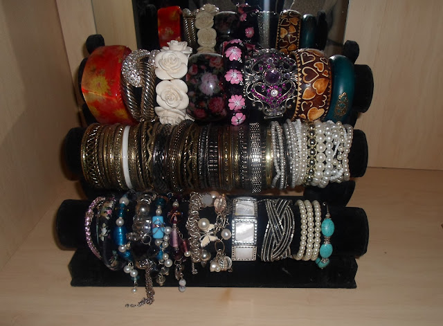 photo of my bracelet collection and storage using a three tier bracelet holder