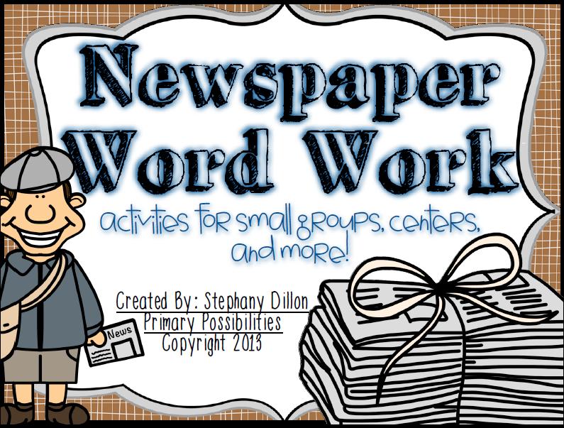 http://www.teacherspayteachers.com/Product/Newspaper-Word-Work-Activities-845442