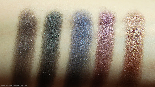 Urban Decay Smoked Eyeshadow Palette Swatches Asphalt, Loaded, Evidence, Rockstar, Barlust