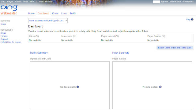 Bing Webmaster Tool Index Result