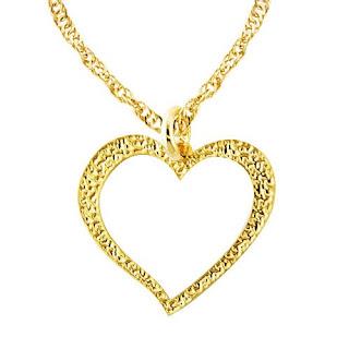 pingente coração folheado a ouro