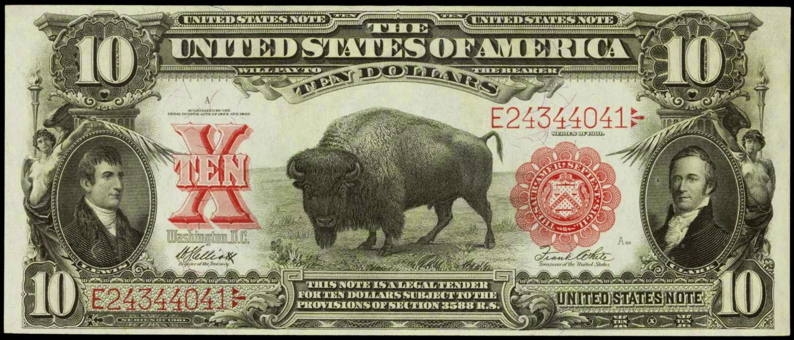 US currency 10 Dollar Bison Note Series of 1901