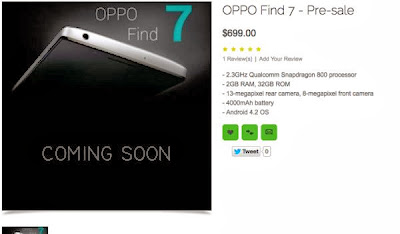 Oppo Find 7, 2K display, smartphone, Quad Core, Snapdragon 800, layar 2 K, smartphone baru, new smartphone
