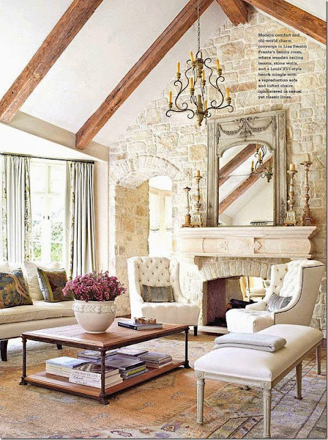 traditional family room with beams brick accent wall neutral color palette