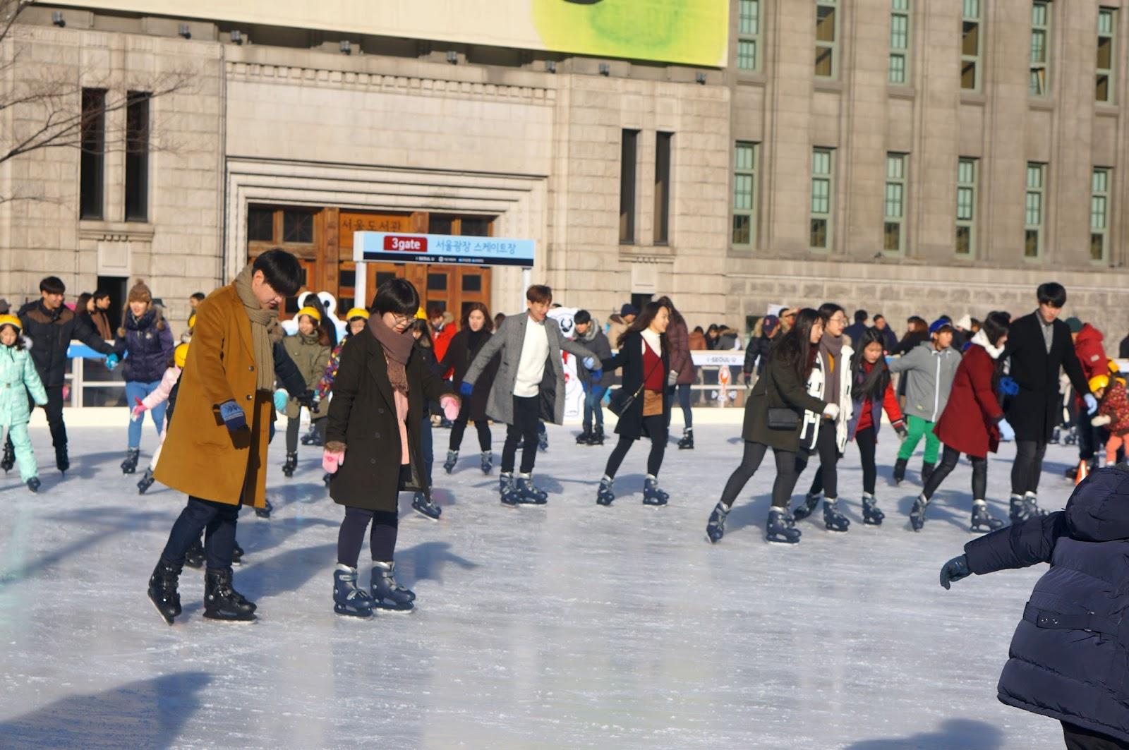 walk with cham outdoor skating at seoul plaza seoul south korea