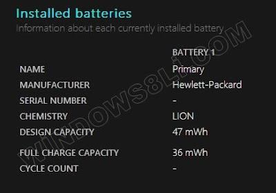 Windows 8 batarya Raporu
