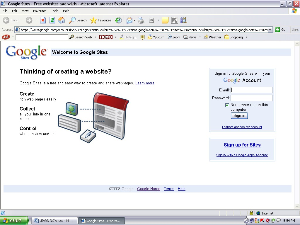 how to create w website using google sites
