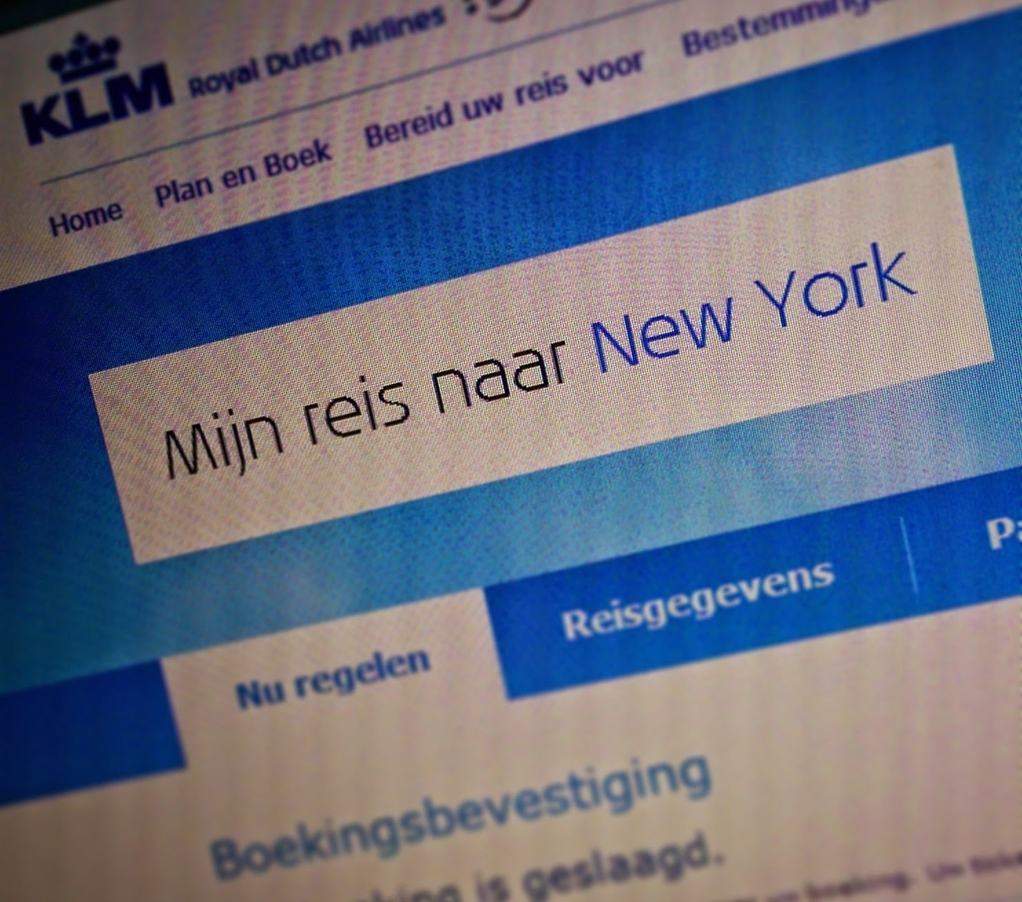New York boekingsbevestiging