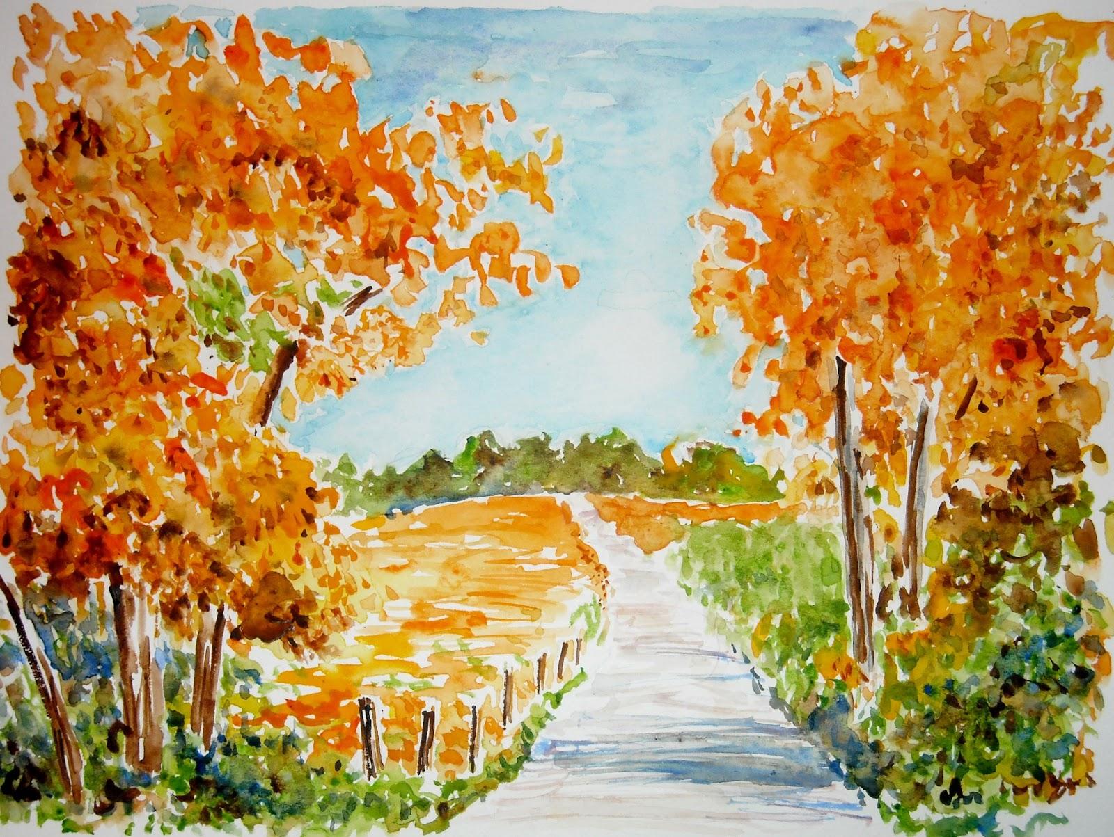 Artist Adron Watercolor Sketch of Autumn Scene