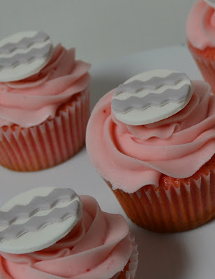 gray chevron cupcake toppers - sweet cakes by rebecca