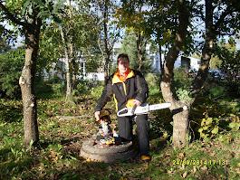 Puutarhanne vuodenaikojen mukaan kulloistenkin tarpeiden mukaan leikkauksia ja pihapuiden kaatoja
