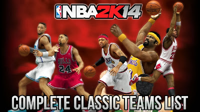 NBA 2K13 Complete List of Classic Retro Teams